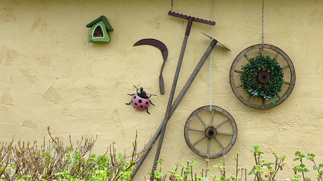 gardening tools as decor