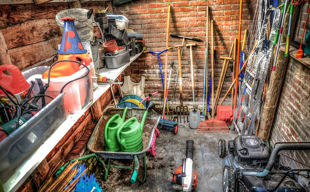 usual garden tools inside a shed