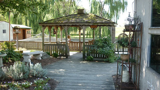 backyard landscaping with gazebo deck