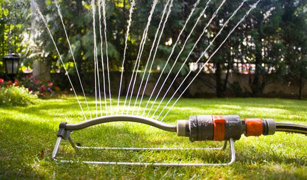 lawn sprinkler with curtain spray