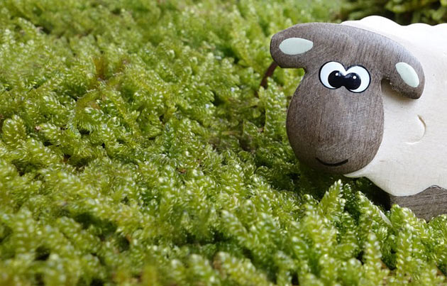 sheep toy figure on moss