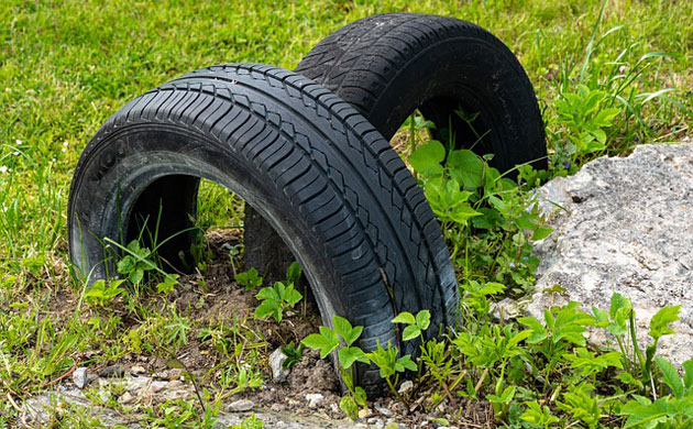 old car tires in the garden