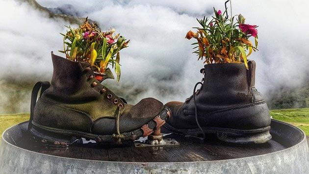 recycling old boots